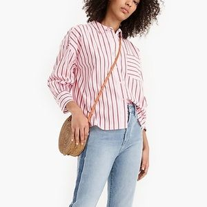 J. Crew Oversized Button Up in Trifecta Stripe